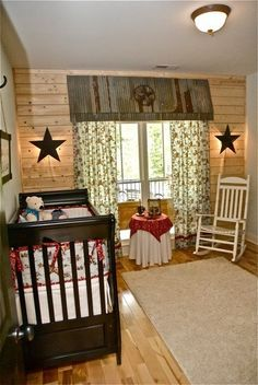 cute country room. except made more country friendly! way too clean and barren. add a rocking horse, a few thousand toys, name plaques and memorabilia on the wall and make it more homey!