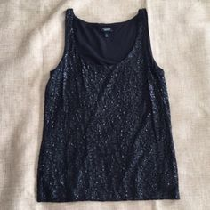 Black Sequin Tank In great condition. Talbots Tops Tank Tops