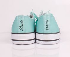 Tiffany blue Converse with Bride Heel Tag / Heel Stripe and Wedding Date