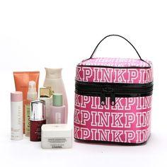 Women's PINK Letter Print Cosmetics Bag