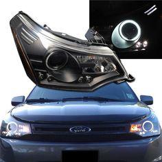 2008-2011 Ford Focus Halo Projector Headlights + 8 Led Fog Bumper Light