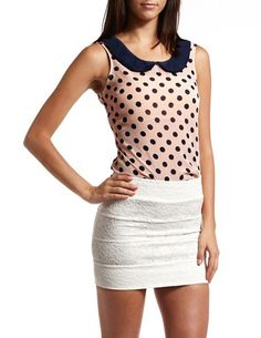 Button Back Polka Dot Tank: Charlotte Russe