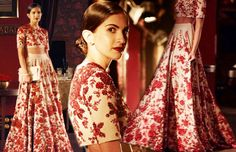 Our favourite from this wonderful Sabyasachi collection was an edgy white lehenga with stunning red sequin work. Its crop top contour exuded a stylish & chic off - beat bridal look!