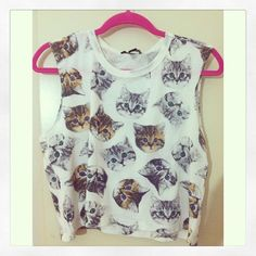 Cat crop top<<< would I wear this? Heck ya I would! Lol>>>>BECAUSE CATS<<< haha yes!