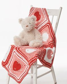 Heart motif can be used individually as a colorful dishcloth or combined to make a heart blanket in Lily Sugar 'n Cream.