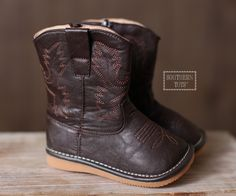 Dark Brown Squeaky Cowboy/Cowgirl Boots – Southern Tots
