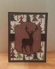Masculine Christmas card cut from Cricut with Stampin Up sentiment by BarbsCardBoutique on Etsy