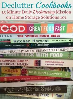 How to declutter cookbooks and cooking magazines, with criteria to consider when deciding which books to keep and which to save part of the missions on Home Storage Solutions 101 Clutter Solutions, Home Storage Solutions, Storage Ideas, Clutter Organization, Paper Organization, Household Organization, Konmari, Cookbook Storage, Cookbook Organization