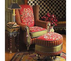 red harlequin wing chair & ottoman