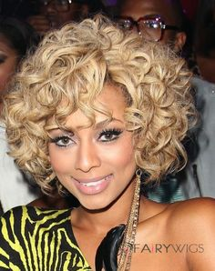 Popurlar Short Curly Blonde African American Lace Wigs for Women on fairywigs.com