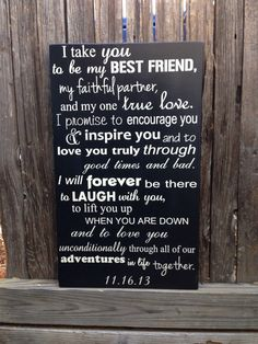 "Wedding Vows Anniversary Gift Wood Sign 12"" x 20"" Marriage Custom Personalize First 5th Fifth Anniversary  Valentine's Day Gift for Him by LilMissScrappy on Etsy https://www.etsy.com/listing/173883902/wedding-vows-anniversary-gift-wood-sign"