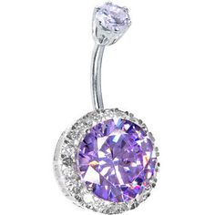 Sterling Silver 925 Light Amethyst Cubic Zirconia JEZEBEL Belly Ring | Body Candy Body Jewelry from Body Candy. Saved to Sterling Silver Belly Rings.