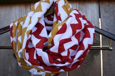 49ers Infinity Scarf // Red and Gold Chevron Jersey Knit by twelve2 #Niners #49ers #SFNiners
