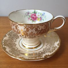 Corset Shape Paragon Peach Tea Cup and Saucer, Light Peachy Pink, Gold, Floral Teacup and Saucer, Vintage Bone China, Double Warrant, 1940s by CupandOwl on Etsy