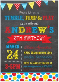 Kids Birthday Invitations, Primary Polka Dots Chalkboard Birthday Party Invitations