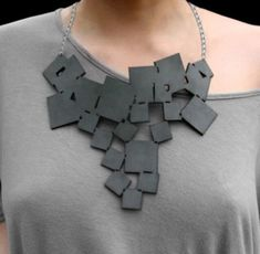 Oropopo Leather tumbling squares necklace