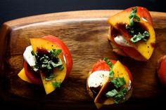 Peach Tomato and Mozzarella Crostini this looks simple yet decadent