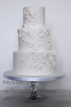 Elegant & timeless bas relief wedding cake. Created by Ruby & Belle Cakes, Brighton, UK