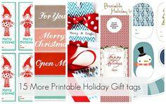 15 more free, printable Holiday gift tags.