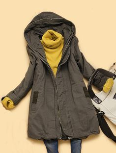 Grey Hooded Long Sleeve Back Zipper Pockets Coat US$75.16