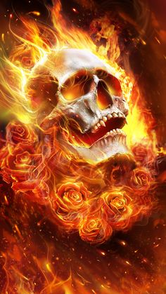 Flame skull with roses! Beautiful live wallpaper