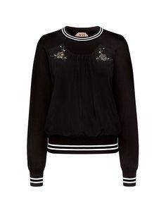 Flower Embellished Pleat Detail Sweatshirt