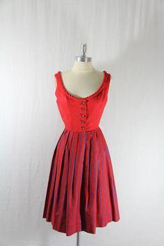 1960s Vintage Dirndl - Red and Blue German Dirndl Dress