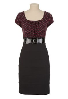 Polka Dot Belted 2Fer Dress available at #Maurices