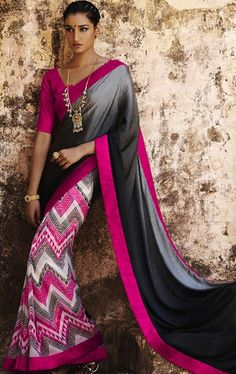 Picture of Fancy Black, Grey, Pink and Off White Color Saree