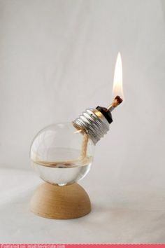 Light Bulb Oil Lamp. Very cool product inversion.