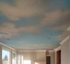 Cloud Ceiling Mural with underlying gradation across Kitchen-Dining-Living Room 18 ft x 52 ft, acrylic paint. Would be great in a living room or study. Ceiling Paint Colors, Ceiling Painting, Ceiling Murals, Bedroom Ceiling, Mural Painting, Wall Murals, Painting Clouds, Ceiling Paint Ideas, Playroom Mural