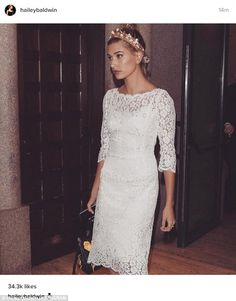 She loves the look: Hailey shared this super glam look of herself wearing her white lace d...