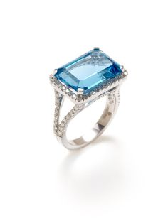 $2475.00 Emerald Cut Blue Topaz & Diamond Split Shank Ring by Vendoro on Gilt.com