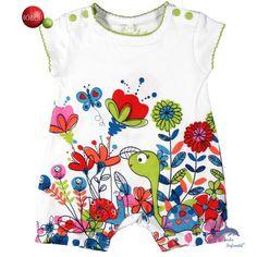 Pelele de bebe BOBOLI algodón manga corta tortuga y flores
