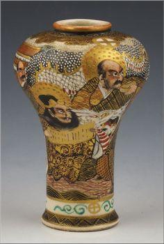 Fine Signed Japanese Satsuma Meiji Period Vase w/ Lohans & Shimazu Mark
