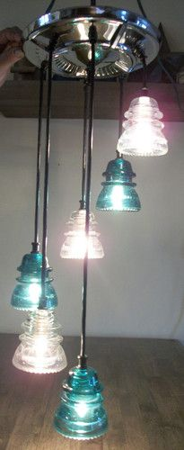 Old Chevy Hubcap and Glass Insulator Chandelier