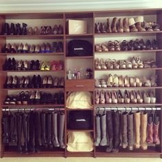 Shoe organizer with boot hanging. {Photo Only}