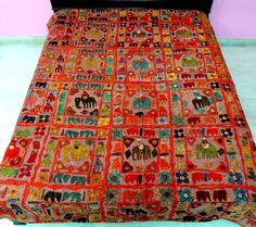 Indian Bedding/ Kantha throw/ Indian bedspread/ Elephant applique Throw