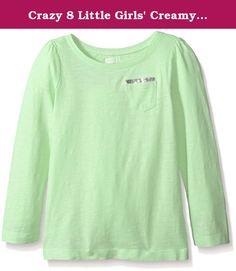 Crazy 8 Little Girls' Creamy Melon Sequin Pocket Knit Top, Creamy Melon, X-Small/ 4. Melon long sleeve basic knit top with sequin pocket.