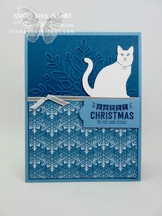 Snowy white cat card made with the Cat Punch, Winter Wonder Embossing Folder, Color Theory Memories & More Card Pack...#stampyourartout - Stampin' Up!®️️ - Stamp Your Art Out! www.stampyourartout.com