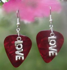 Love Guitar Pick Earrings - Your Choice of Color. $6.00, via Etsy.
