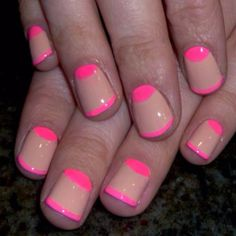 Nude and Neon Nails