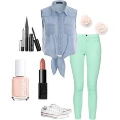 Just Another Summer Day by smilelikeyoucan on Polyvore featuring French Connection, Converse and Essie