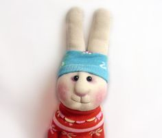 Sock Toy Cheerful Rabbit Soft Plush by TaniaStudio on Etsy, $14.00