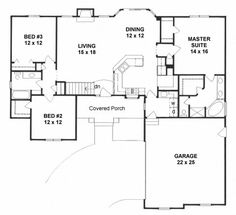 Plan # 1611 - Ranch | First floor plan