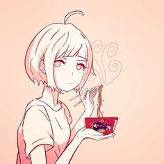 Felt like drawing noodles.  #samyang#korean#spicy#ramen#anime#animeart#manga#doodle#sketch#pink#food#noodles#eat#girl