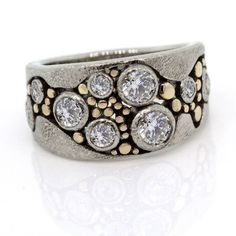 Wide Multi-Diamond River Pebbles Ring  Size 6 fits my right ring finger just perfectly