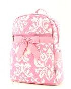 Personalized #Pink and White Damask Backpack by @lollipopprincess  #preschool #backtoschool #backpack #kids