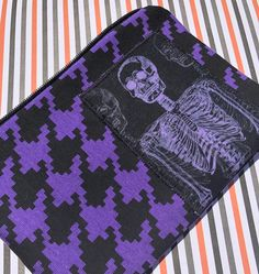Skeleton Appliqué Zipper Pouch - Houndstooth, Purple and Black, Human Anatomy, X-ray.