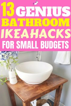 These IKEA bathroom hacks will show you how you can easily transform your bathroom on a budget! The best IKEA hacks for your bathroom organization & decor! Bathroom Hacks, Ikea Bathroom, Diy Bathroom Decor, Budget Bathroom, Bathroom Ideas, Master Bathrooms, Bathroom Designs, Ikea Hacks, Hacks Diy